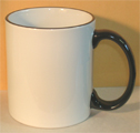 blank mug with black rim and handle